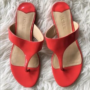 J.  Crew coral patent sandals size 7.5